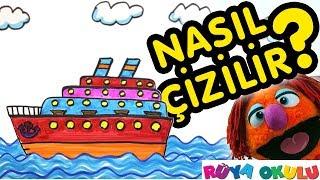Gemi Nasıl Çizilir? - Yolcu Gemisi - 🚢- Çocuklar İçin Resim Çizme - RÜYA OKULU