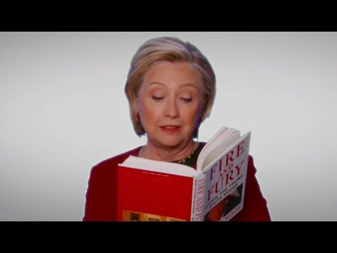 """Hillary Clinton, Cardi B & MORE Troll Trump With """"Fire And Fury"""" Skit At 2018 Grammys"""