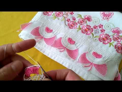 farklı dantel ve iğne oyalı havlu kenarı yapılışı kelebek modeli