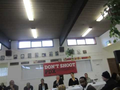 #dontshootpdx with mayor and police union prez 6 on Killercop at Wyden Town Hall