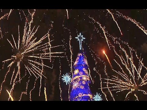 Brazil lights up largest ever floating Christmas 'tree'