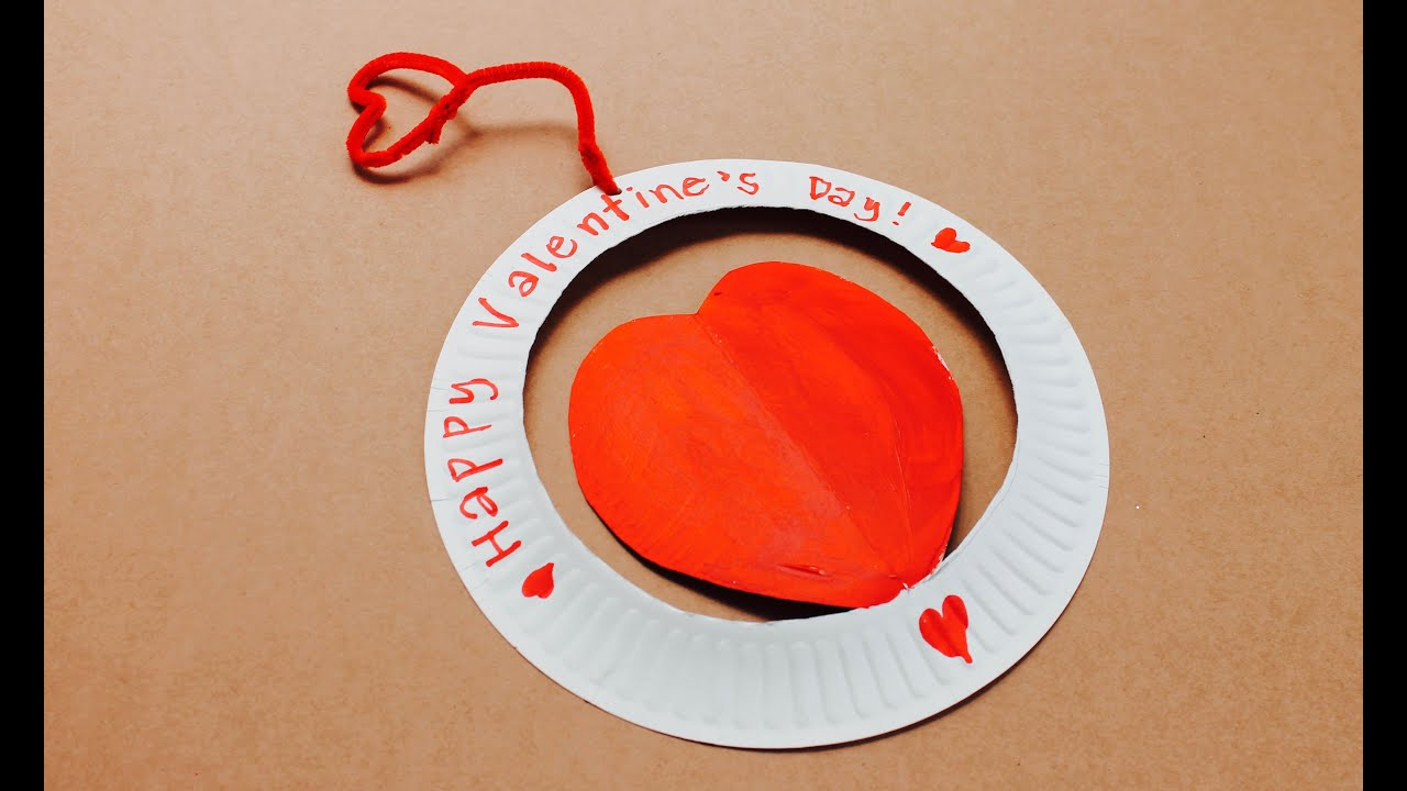 valentine u0027s day craft how to make a paper plate valentine youtube