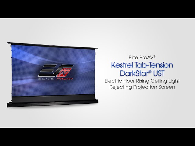 Elite ProAV® Kestrel Tab-Tension DarkStar® UST- Electric Floor Rising Ceiling Light Rejecting Screen