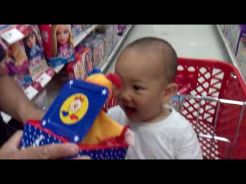 Funny Baby Scared by Jack in The Box