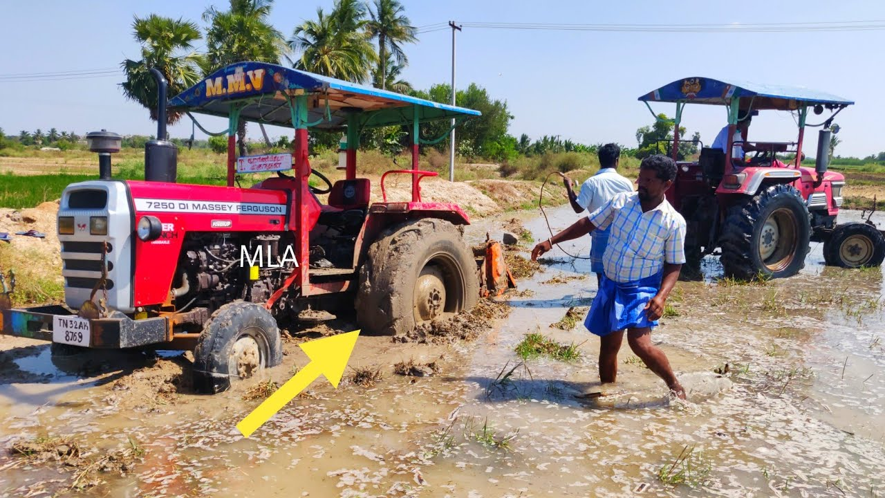 Massey Ferguson 7250 Stuck Mud Pulling Rescued by Mahindra tractor | Come For Village | #CFV |