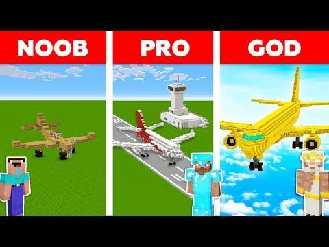 Minecraft AIRPLANE CHALLENGE ✈️ / Noob Vs Pro Vs God In Minecraft