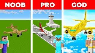 Minecraft Noob Vs Pro Vs God  Airplane Challenge In Minecraft  Animation