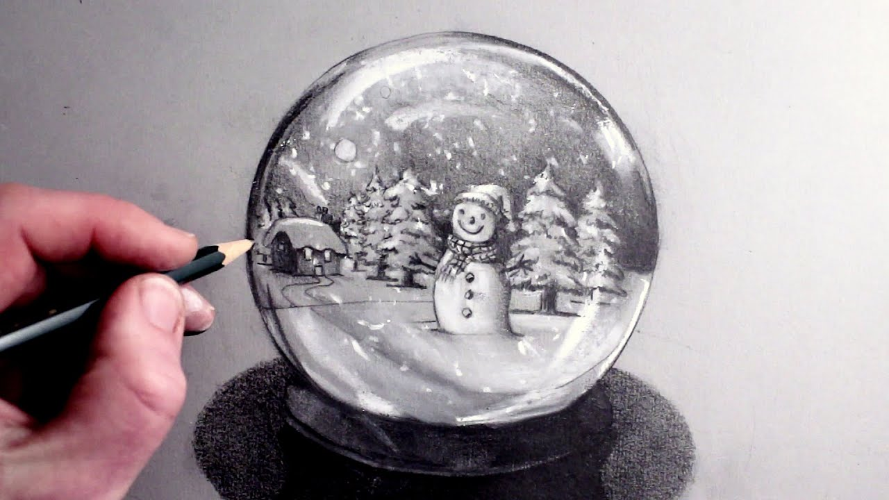How To Draw A Snowman In Snow Globe YouTube