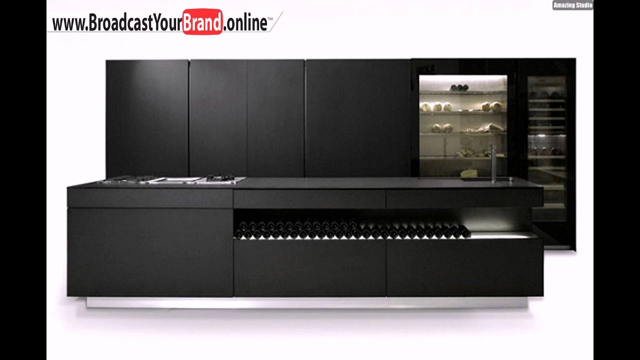 schwarze moderne k che design glas k hlschrank youtube. Black Bedroom Furniture Sets. Home Design Ideas