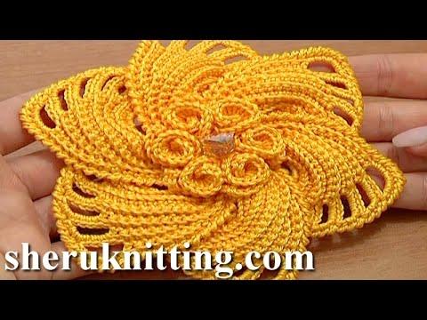 Crochet 6-Petal Flower Spirals In Center Tutorial 59 Part 1 of 2