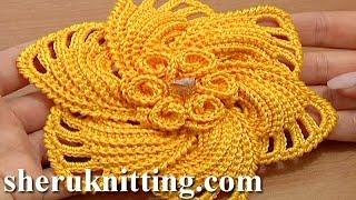 Repeat youtube video Crochet 6-Petal Flower Spirals In Center Tutorial 59 Part 1 of 2