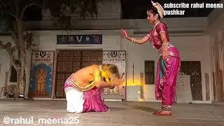 Odissi dance lake festival pushkar 2018   tejaswini gautam with Padma Charan dehury