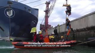 ¡ACCIÓN! Activistas de Greenpeace protestan en Bilbao contra el envío ilegal de armamento