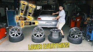 Lowering Cody's Car + NEW WHEELS!