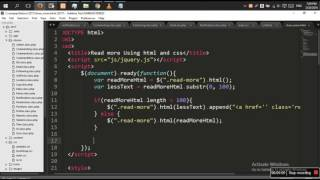 JQuery - Facebook Read More / Show More Link using JQUERY,HTML AND CSS