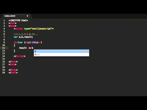 Javascript Tutorial - Fibonacci Sequence With For Statement