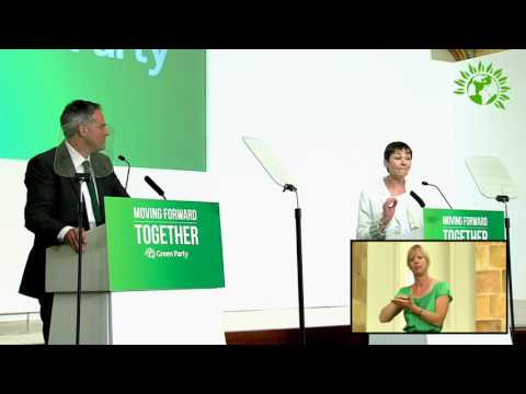 Jonathan Bartley & Caroline Lucas MP elected Co-Leaders of the Green Party - full speech
