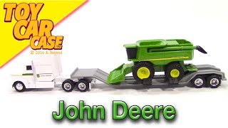 ERTL John Deere Semi Tractor Trailer Combine Harvester Toy Car Case