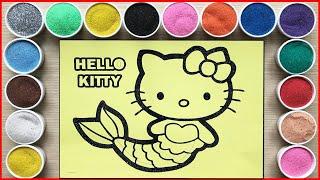 TÔ MÀU TRANH CÁT MÈO HELLO KITTY BIẾN HÓA THÀNH TIÊN CÁ - Kitty mermaid sand painting (Chim Xinh)