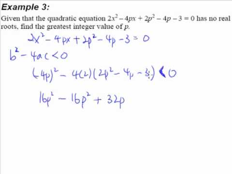 4. Quadratic Equations and Inequalities - Example 3 (No Real Root ...
