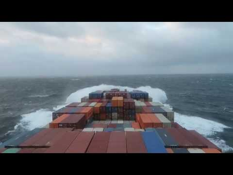 Container ship + bad weather + Atlantic ocean.