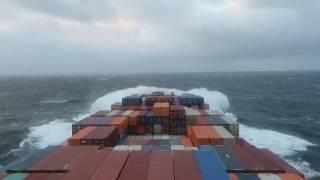 Container ship + bad weather + Atlantic ocean.