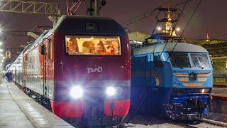 Первый рейс двухэтажного поезда Москва - Санкт-Петербург(Электровоз ЭП2К-270 с двухэтажным поездом №6 Москва - Санкт-Петербург отправляется от станции Москва-Пассажи..., 2015-02-03T18:46:38.000Z)
