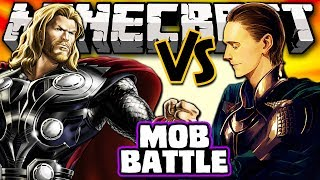 THOR VS LOKI - Minecraft Batalha de Mobs - Superheroes Unlimited Mod