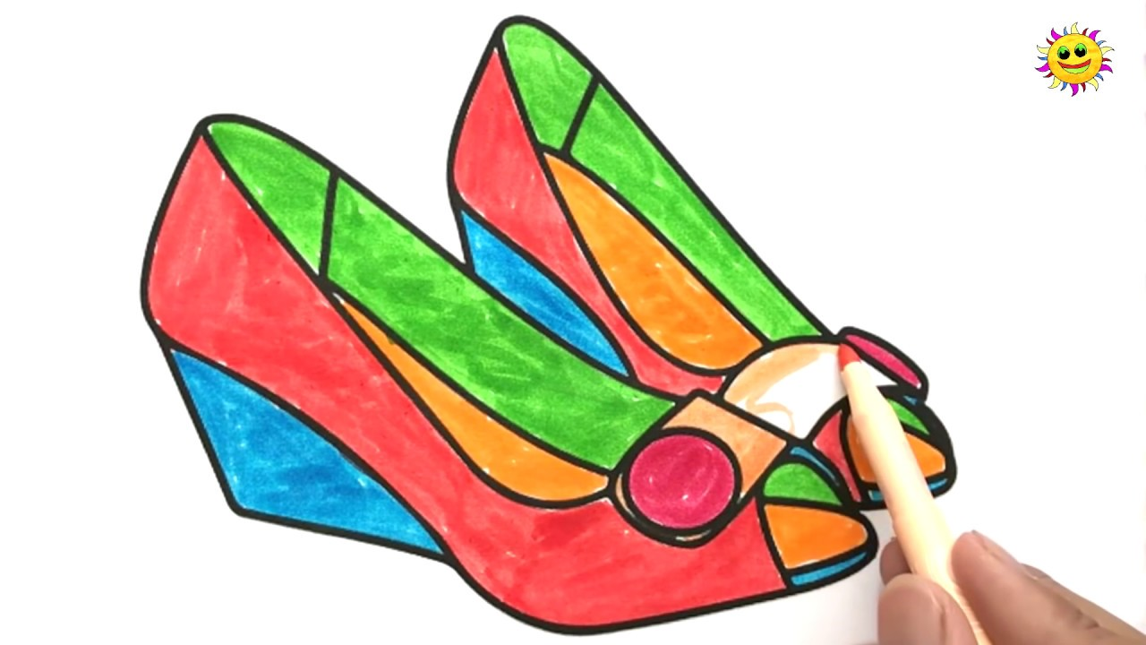 How To Draw Shoes  Drawing And Colours For Children's With Colored Markers   Art Colors