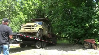 """Bringing """"Sarge"""" The 1956 Chevy Army Truck Home. (CTR-199)"""