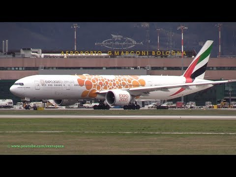 Emirates 773 (Expo 2020 Dubai orange Livery) at Bologna G.Marconi Airport BLQ-LIPE