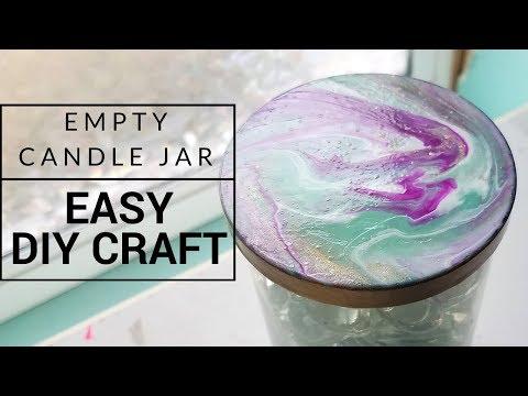 Candle Jar DIY   Marble Lid Using Nail Polish (Tutorial)