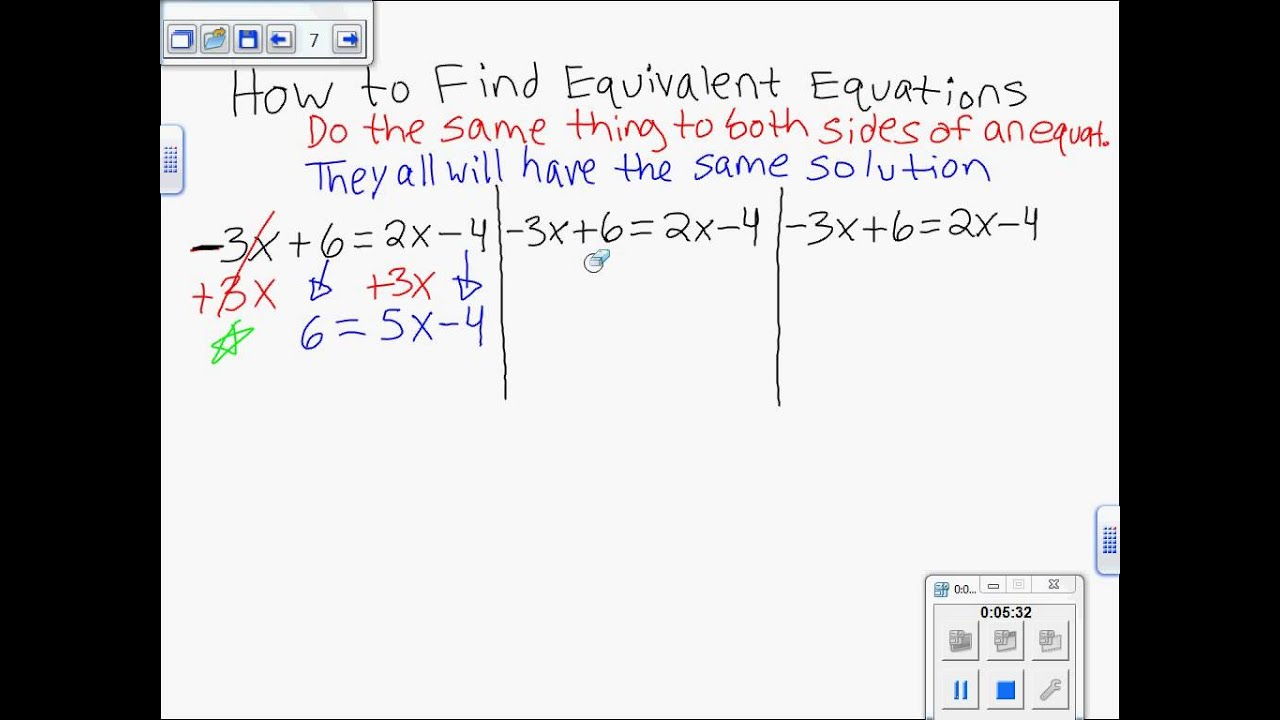 How To Find Equivalent Equations With Variables On Both Sides Linear 7th Gr Math Ch 3