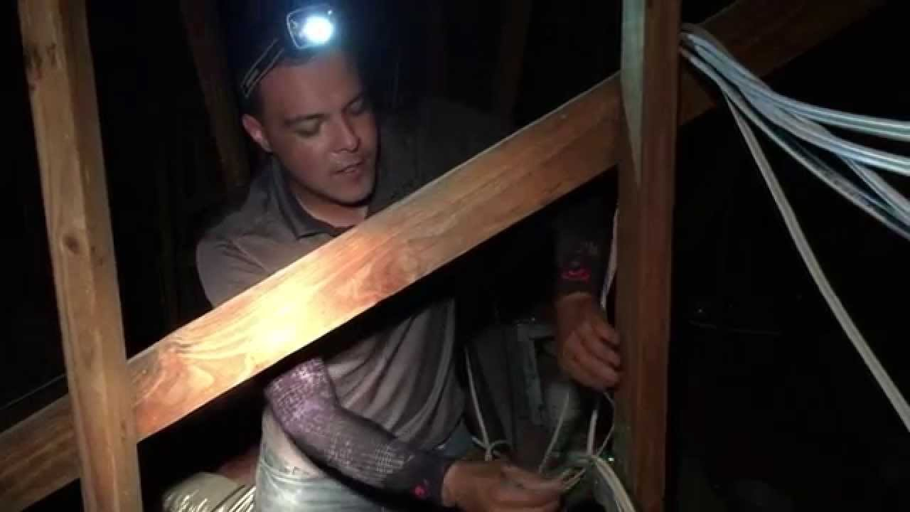 Installing Security Camera Cables Inside An Attic Youtube