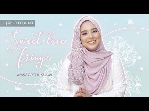Sweet Lace drape Bridal hijab tutorial using Inara Bridal Adore