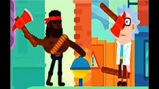 Bowmasters #2  Мультфильм Игра про ДУЭЛЬ ГЕРОЕВ Игровой мультик для детей #Мобильные игры