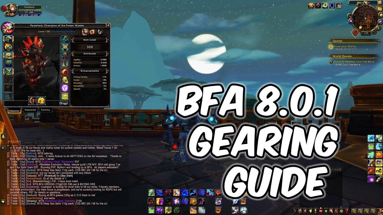 8 0 1 BFA Gearing Guide - 340+ ilvl Easy - WoW BFA