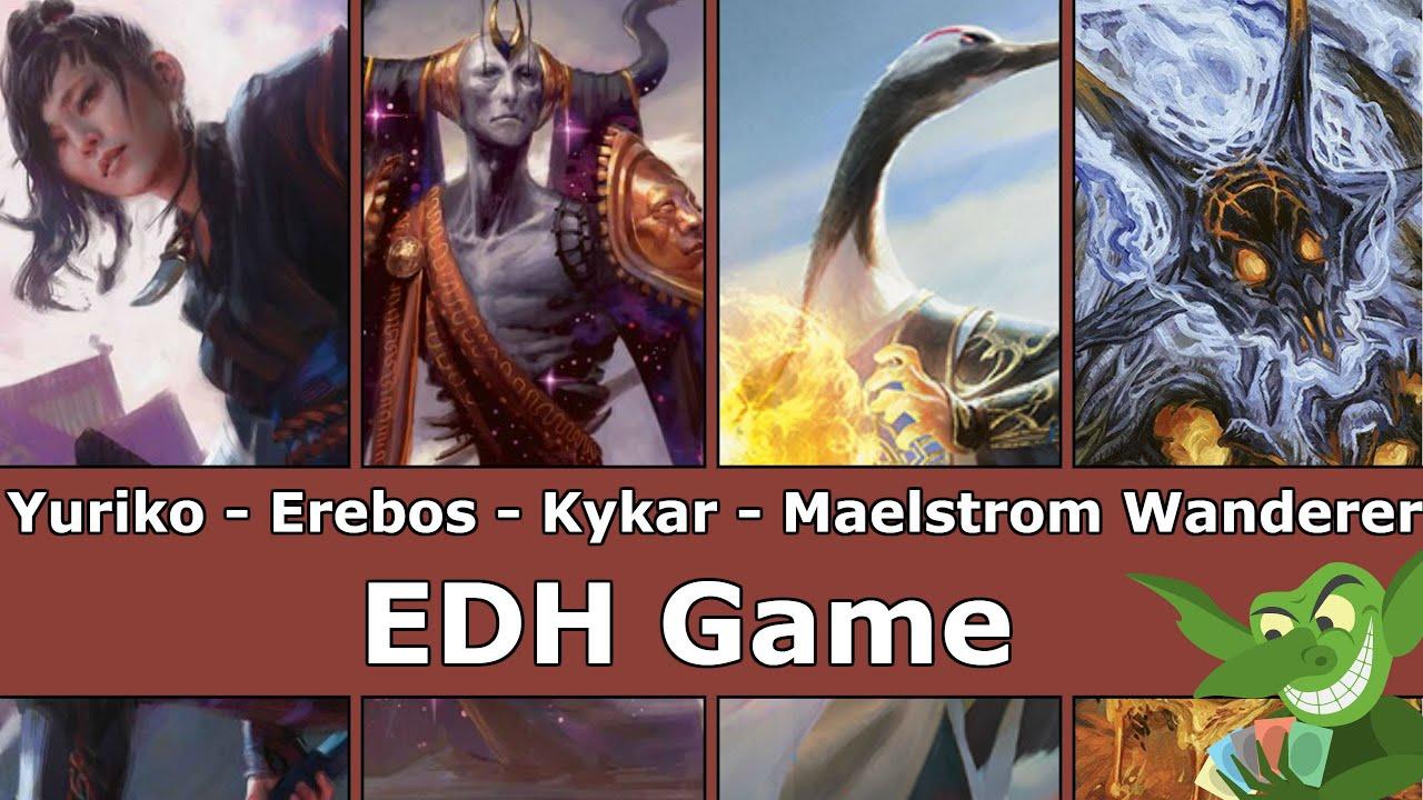 Yuriko vs Erebos vs Kykar vs Maelstrom Wanderer EDH / CMDR game play for Magic: The Gathering