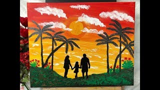 ACRYLIC PAINTING: HOW TO PAINT A SUNSET  by Mylene Ausdauer