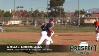 So Cal Birds and CBA Baseball Uncommitted Showcase:  Pregame Infield and Outfield, Catcher Pops