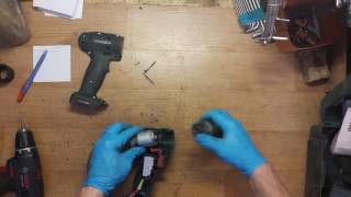 How top disassemble and find problem for Metabo BS 18 cordless 18V drill smokes from motor