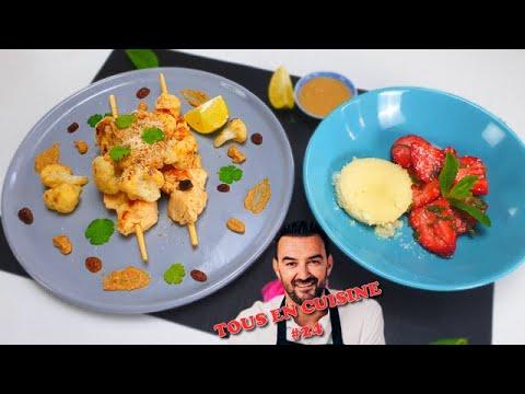 tous-en-cuisine-#24-:-les-brochettes-sauce-satay-et-le-flan-coco-fraises-menthe-de-cyril-lignac-!