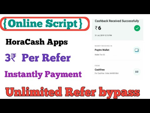 {Online Script} Hora Cash Refer bypass || Unlimited refer bypass || 1 Refer 3₹ || Payment Instantly