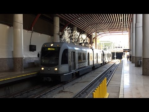 LA Metro Rail HD 60fps: AnsaldoBreda P2550 Gold Line Trains @ Memorial Park Station (3/11/16)