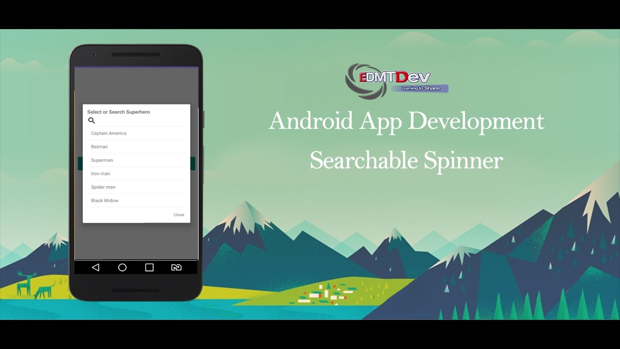 Implement Search functionality in Android Spinner - Mytrendin