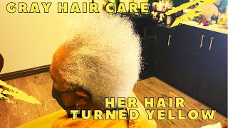 Her gray hair tuŗned yellow 😱| How to remove yellow from gray hair