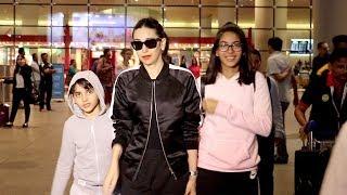 Karisma Kapoor with Children Daughter Samiera & Son Kiaan Raj Kapoor At Mumbai Airport