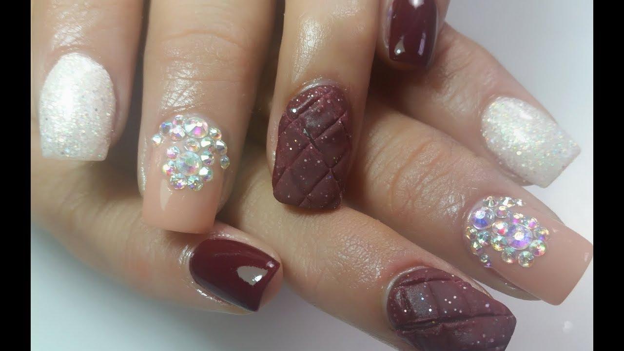 Uñas acrílicas efecto acolchado /relleno en uñas mini! / By Sabrina ...