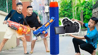 Battle Nerf War: Two Brothers & Blue Police Practice Nerf Guns Robbers Group NERF SHOPPING BATTLE