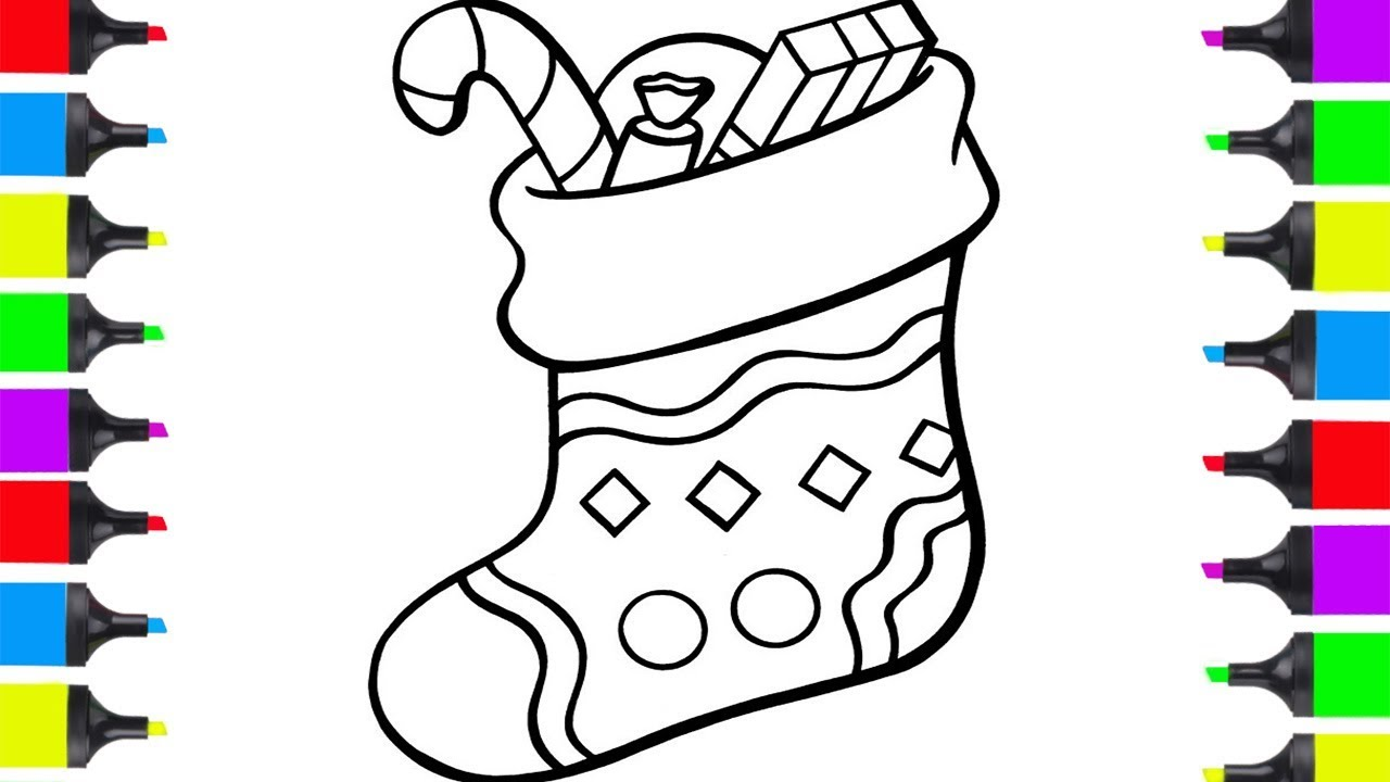 how to draw stocking for christmas easy coloring pages for kids learn christmas art